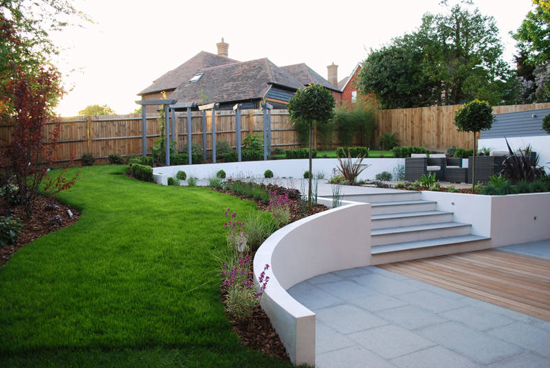 Garden Design in Kent | Contemporary Stepped Garden Design