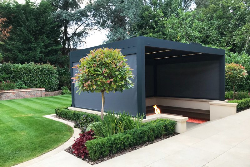 black metal garden shade structures